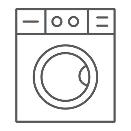 Washing machine thin line icon, laundry and housekeeping, washer sign, vector graphics, a linear pattern on a white background.