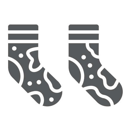 Dirty socks glyph icon, laundry and wardrobe, smelly socks sign, vector graphics, a solid pattern on a white background.