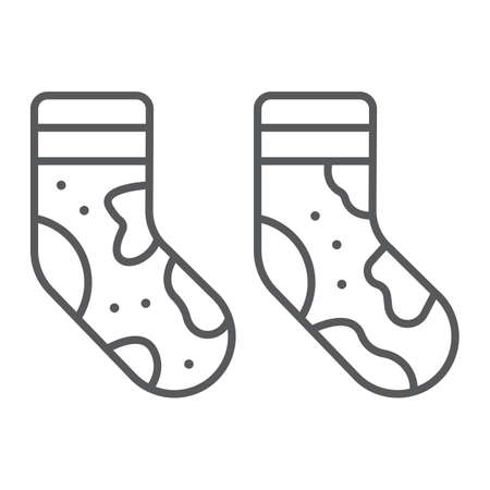 Dirty socks thin line icon, laundry and wardrobe, smelly socks sign, vector graphics, a linear pattern on a white background.