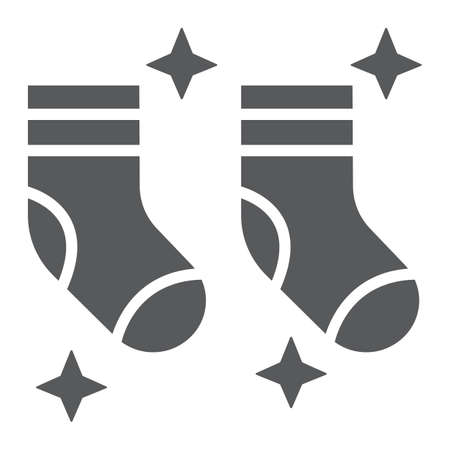 Clean socks glyph icon, laundry and wardrobe, tidy socks sign, vector graphics, a solid pattern on a white background.