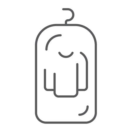 Clothes cover thin line icon, apparel and suit, storage for clothing sign, vector graphics, a linear pattern on a white background.