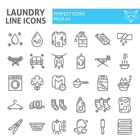 Insieme dell'icona della linea di lavanderia, raccolta di simboli di lavaggio, abbozzi di vettore, pacchetto di pittogrammi lineari di segni di lavori domestici isolato su priorità bassa bianca. Vettoriali