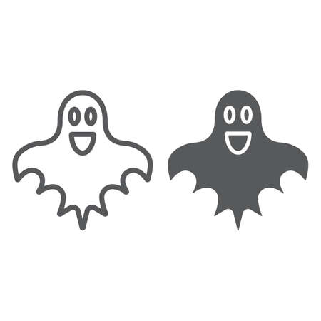 Ghost line and glyph icon, halloween and horror, spirit sign, vector graphics, a linear pattern on a white background.