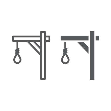 Gallows line and glyph icon, hang and knot, rope sign, vector graphics, a linear pattern on a white background.