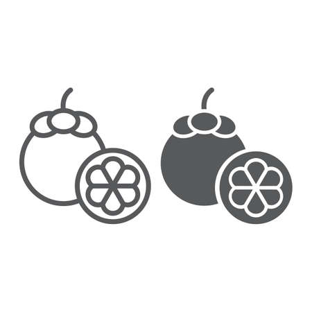 Mangosteen line and glyph icon, food and vitamin, fruit sign, vector graphics, a linear pattern on a white background.
