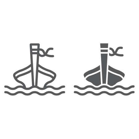 Línea de barco de cola larga e icono de glifo, oveja y mar, signo de barco tai, gráficos vectoriales, un patrón lineal sobre un fondo blanco. Ilustración de vector