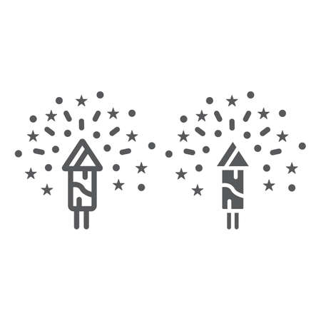 Christmas firework line and glyph icon, party and new year, firecracker sign, vector graphics, a linear pattern on a white background. Illustration