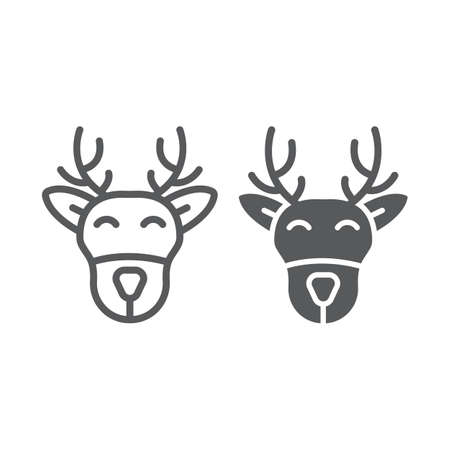 Christmas deer line and glyph icon, christmas and moose, reindeer sign, vector graphics, a linear pattern on a white background.