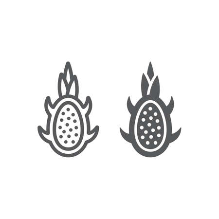 Dragon fruit line and glyph icon, fruits and tropical, exotic food sign, vector graphics, a linear pattern on a white background.