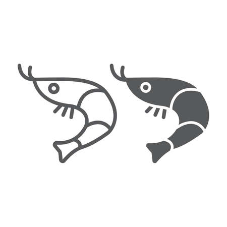 Shrimp line and glyph icon, animal and sea, ocean food sign, vector graphics, a linear pattern on a white background.