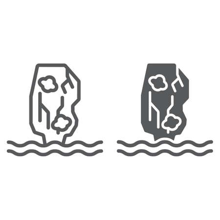 Khao phing kan line and glyph icon, nature and landscape, mountain on the sea sign, vector graphics, a linear pattern on a white background.