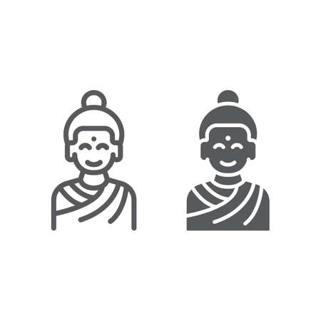 Buddha line and glyph icon, meditation and buddhism, meditating person sign, vector graphics, a linear pattern on a white background.