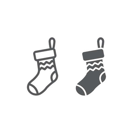 Christmas sock line and glyph icon, decor and new year, festive stocking sign, vector graphics, a linear pattern on a white background.