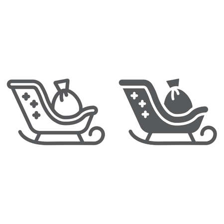 Santa claus sled and glyph line icon, christmas and holiday, christmas sleigh sign, vector graphics, a linear pattern on a white background. 向量圖像