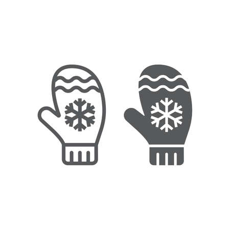 Mitten line and glyph icon, winter and clothes, glove sign, vector graphics, a linear pattern on a white background 向量圖像