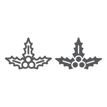 Christmas holly berry line and glyph icon, xmas and winter, plant sign, vector graphics, a linear pattern on a white background  イラスト・ベクター素材