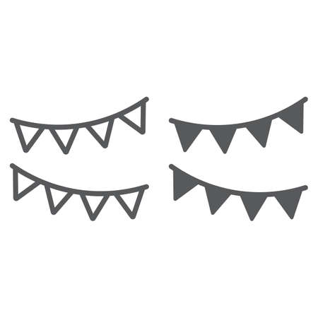 Holiday flags garland line and glyph icon, party and decoration, paper garland sign, vector graphics, a linear pattern on a white background