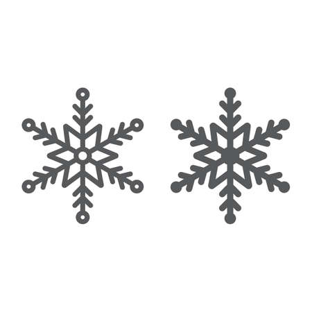 Snowflake line and glyph icon, winter and ice, snow sign, vector graphics, a linear pattern on a white background.