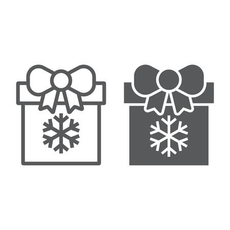 Christmas box line and glyph icon, present and new year, present package sign, vector graphics, a linear pattern on a white background.  イラスト・ベクター素材