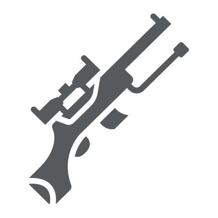 Sniper gun glyph icon, weapon and military, automatic machine sign, vector graphics, a solid pattern on a white background.