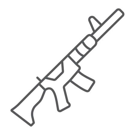 M4A1 thin line icon, rifle and military, automatic machine sign, vector graphics, a linear pattern on a white background.