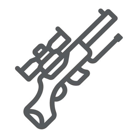 Sniper gun line icon, weapon and military, automatic machine sign, vector graphics, a linear pattern on a white background.