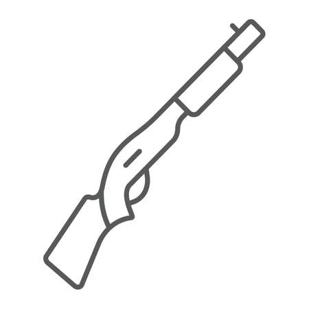 Shotgun thin line icon, weapon and military, automatic rifle sign, vector graphics, a linear pattern on a white background.