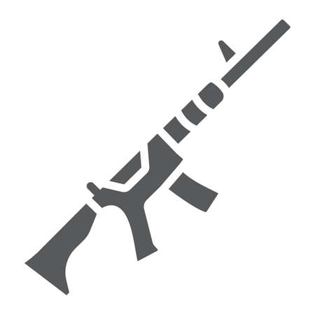 M4A1 glyph icon, rifle and military, automatic machine sign, vector graphics, a solid pattern on a white background.