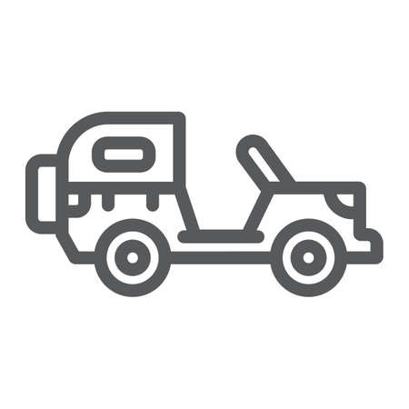 Army vehicle line icon, army and transport, military car sign, vector graphics, a linear pattern on a white background.