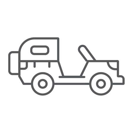 Army vehicle thin line icon, army and transport, military car sign, vector graphics, a linear pattern on a white background.  イラスト・ベクター素材
