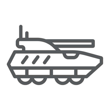 Armoured personnel carrier line icon, army and military, tank sign, vector graphics, a linear pattern on a white background.