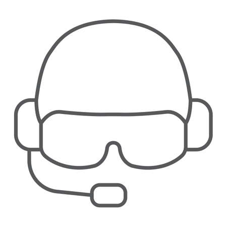 Military helmet thin line icon, army and military, soldier hat sign, vector graphics, a linear pattern on a white background.  イラスト・ベクター素材