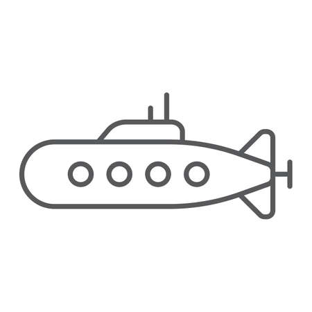 Military submarine thin line icon, marine and military, army sub sign, vector graphics, a linear pattern on a white background.  イラスト・ベクター素材