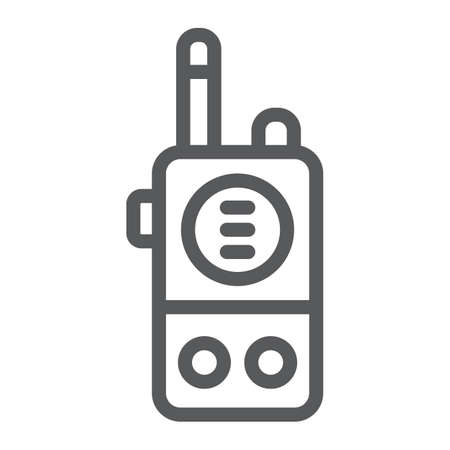 Walkie talkie line icon, communication and military, portable radio sign, vector graphics, a linear pattern on a white background.