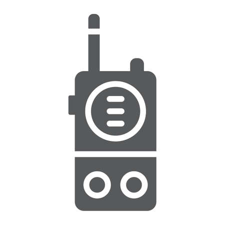 Walkie talkie glyph icon, communication and military, portable radio sign, vector graphics, a solid pattern on a white background.