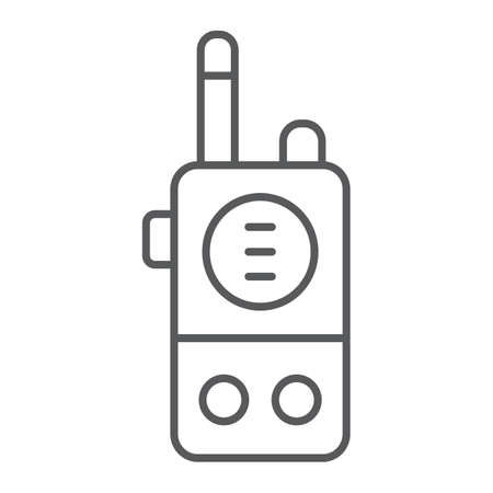 Walkie talkie thin line icon, communication and military, portable radio sign, vector graphics, a linear pattern on a white background.