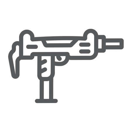 Uzi gun line icon, army and military, gun machine sign, vector graphics, a linear pattern on a white background.