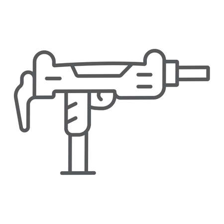 Uzi gun thin line icon, army and military, gun machine sign, vector graphics, a linear pattern on a white background.