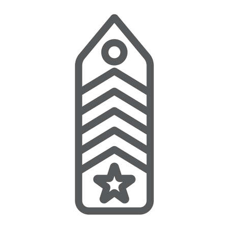 Military chevron line icon, uniform and insignia, army badge sign, vector graphics, a linear pattern on a white background.  イラスト・ベクター素材