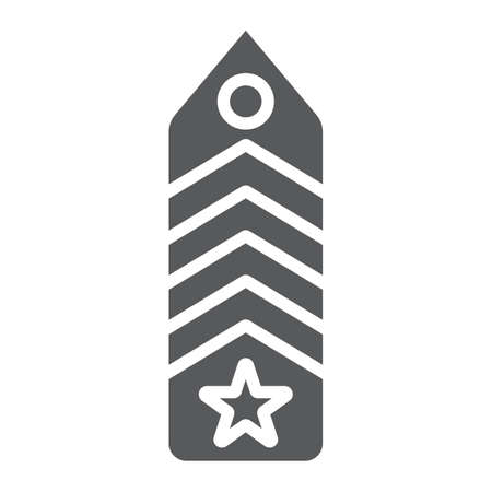 Military chevron glyph icon, uniform and insignia, army badge sign, vector graphics, a solid pattern on a white background.