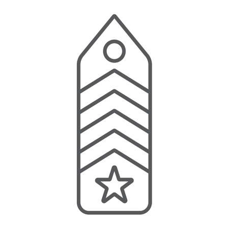 Military chevron thin line icon, uniform and insignia, army badge sign, vector graphics, a linear pattern on a white background.