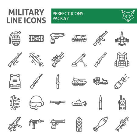 Military line icon set, war and army symbols collection, vector sketches,  weapon signs linear pictograms package isolated on white background.  イラスト・ベクター素材
