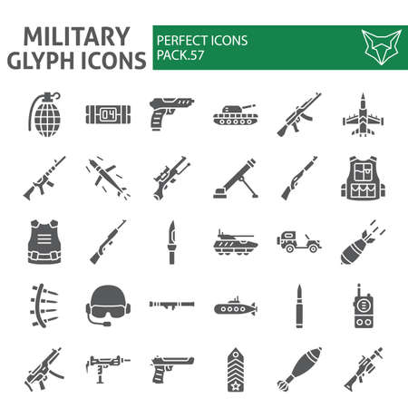 Military glyph icon set, war and army symbols collection, vector sketches, weapon signs solid pictograms package isolated on white background.