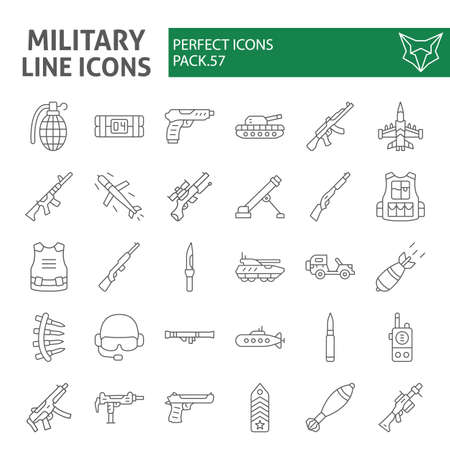 Military thin line icon set, war and army symbols collection, vector sketches, weapon signs linear pictograms package isolated on white background.
