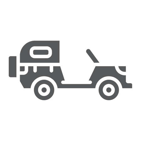Army vehicle glyph icon, army and transport, military car sign, vector graphics, a solid pattern on a white background.