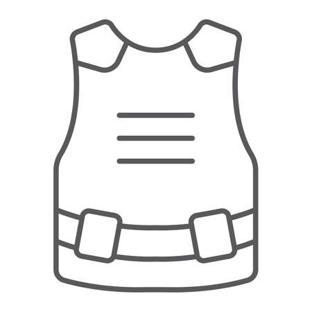 Body armor thin line icon, army and military, bulletproof vest sign, vector graphics, a linear pattern on a white background.  イラスト・ベクター素材