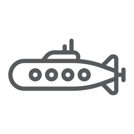 Military submarine line icon, marine and military, army sub sign, vector graphics, a linear pattern on a white background.
