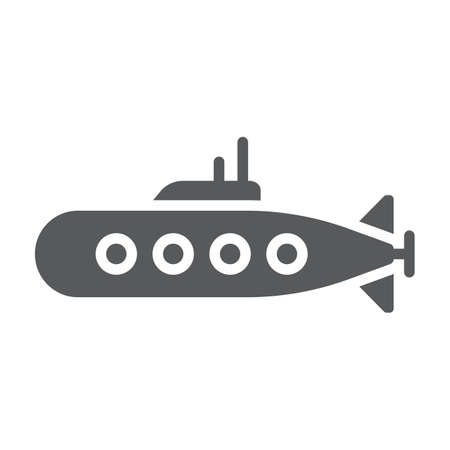 Military submarine glyph icon, marine and military, army sub sign, vector graphics, a solid pattern on a white background.