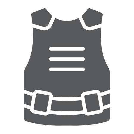 Body armor glyph icon, army and military, bulletproof vest sign, vector graphics, a solid pattern on a white background.  イラスト・ベクター素材