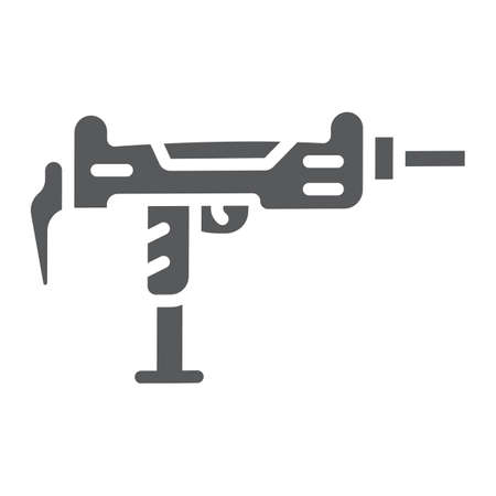 Uzi gun glyph icon, army and military, gun machine sign, vector graphics, a solid pattern on a white background.